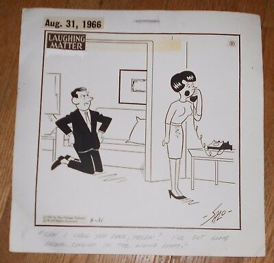 1966 Original Vintage Ink Drawing Salo Roth Comic Art Laughing Matter Signed
