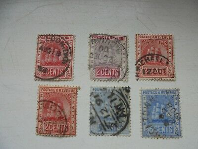 British Guiana 6 stamps 2c-6cents KEVII -KGV all fine used