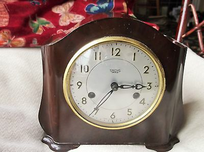 Vintage Bakelite Clock Smiths Enfield Working Fine With Key No Chime Great Cond