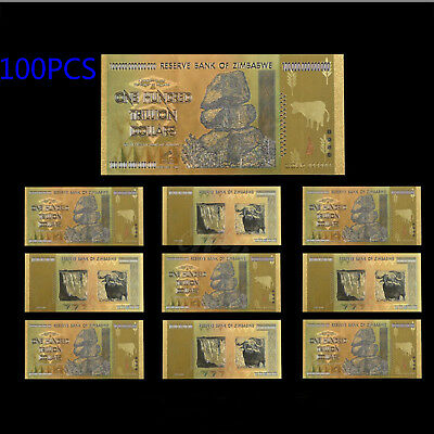 WR 100Pcs Zimbabwe 100 Trillion Dollars Banknotes Color Gold Bill /w Certificate