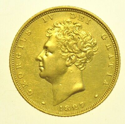 1827 SOVEREIGN, BRITISH GOLD COIN FROM GEORGE IV aEF