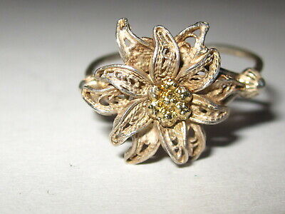 Ring  Echtsilber    antik   filigrane Blume   Gr 54 / 17 mm-variabel