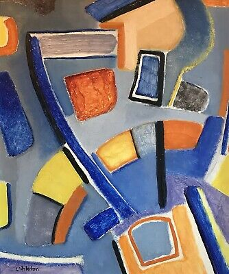 ARLETTE MARTIN (b.1924) STUNNING 1950'S PERIOD FRENCH CUBIST LARGE OIL PAINTING