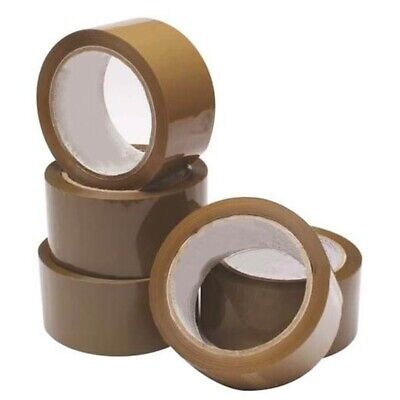 10 PACK BROWN CARTON SEALING STICKY TAPE ROLLS Packing Wrapping Parcel Seal Box