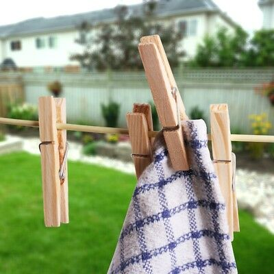 36x STRONG WOODEN CLOTHES PEGS Pine Wood Washing Line Clip Clamp Spring Pins