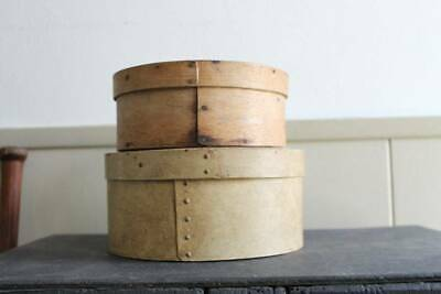 Stack of 2 Antique Primitive Pantry Boxes One Signed One Painted