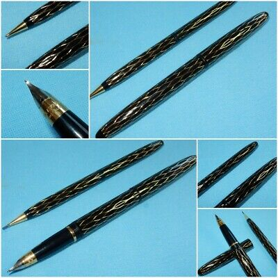 Vintage Lady Sheaffer Xi Tulle Black & Gold Fountain Pen Pencil Set Smooth Fine