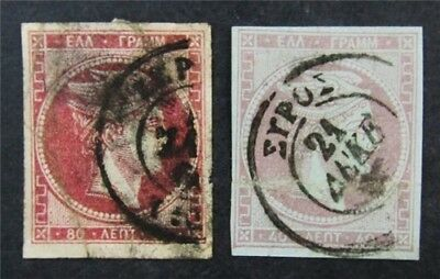 nystamps Greece Stamp # 21.22 Used $62