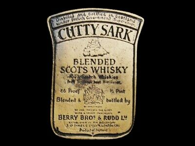 LL31154 VINTAGE 1970s **CUTTY SARK** BLENDED SCOTS WHISKEY BOOZE BELT BUCKLE