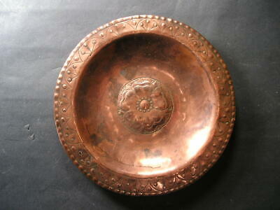 Antique Arts and Crafts  Copper Dish with Rose