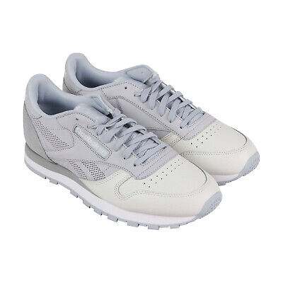 Reebok Classic Leather Ue Mens Gray Leather Low Top Lace Up Sneakers Shoes