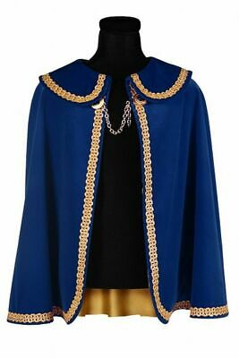Fine Prince King Shawl Men's Blue Gold Edging Velvet Inner Lining short 85cm