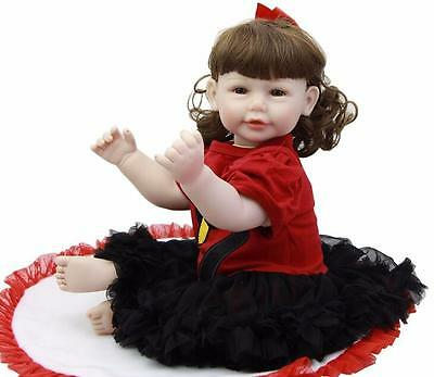 20'' Lifelike Toddler Reborn Baby Girl Doll Toy Silicone Vinyl Newborn Kids Gift
