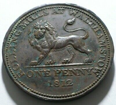 England 1812 Rolling Mills At Walthamstow Lion One Penny Copper Company Token