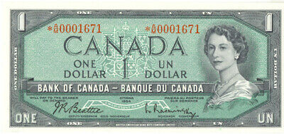 Bank of Canada 1954 $1 One Dollar Replacement Note Asterisk Choice UNC