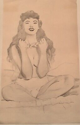 TED WITHERS ORIGINAL TIKI ISLAND GIRL 50s PIN-UP Nude DRAWING Vintage Pinup Legs