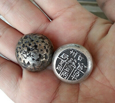 Antique style collected China Handwork Miao silver Pay soldiers 2pcs silver bar