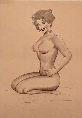 TED WITHERS ORIGINAL 2 side 50s PIN-UP Nude DRAWINGS Vintage Pinup Legs MARILYN