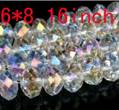 Beautiful Faceted Gemstone Glass Crystal Loose Beads 6x8mm 16inch White+AB