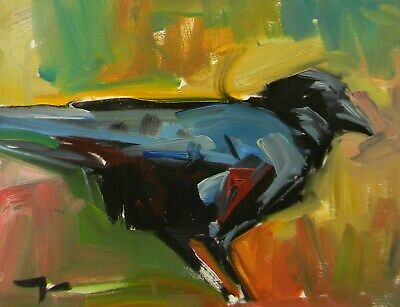 Jose Trujillo Oil Painting Impressionist 11X14 Black Crow Fauvist Abstract Nr