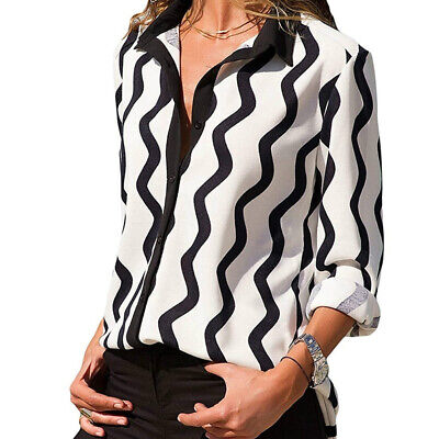 Women V Neck Ladies Striped Print Long Sleeve Button T Shirt Top Blouse S