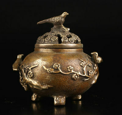 Vintage Collection Old Brass Casting Plum Flower Bird Lid Censer Incense Burner
