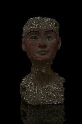 EGYPTIAN QUEEN NEFERTITI HEAD Antique Ancient EGYPT STATUE Carved Stone Bc #R44