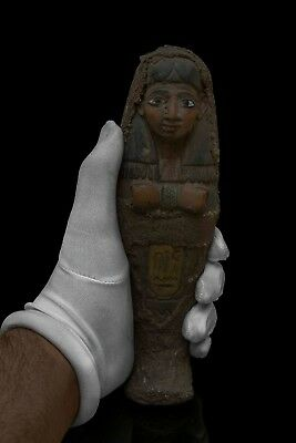 Rare EGYPTIAN STATUE ANTIQUE Shabti USHABTI MUMMY EGYPT Carved Stone #300 BC