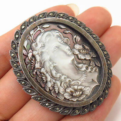 925 Sterling Silver Vintage Marcasite Carved Cameo Victorian Lady Design Brooch
