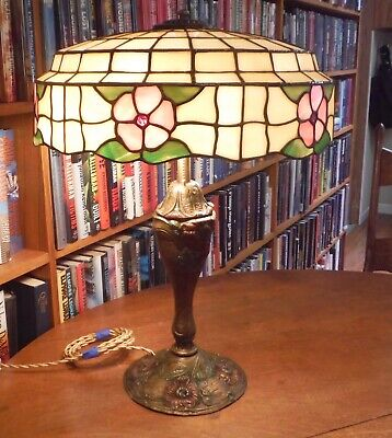 Antique Royal Co Lamp & Lamb Bros & Green Leaded Glass Lamp Shade Chicago Bros.