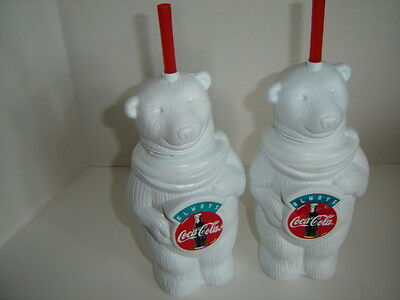 Two Coca Cola Bears Plastic Drink Bottle With Red Straw Always Coca Cola Cups