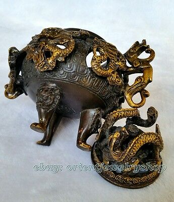antique Vintage Collection Old Brass Casting Censer dragon Incense Burner