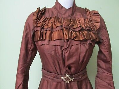 """Ladies Brown Victorian 2 Pc. Outfit / Great Condition W/ Matching Belt/ 32"""" Bust"""