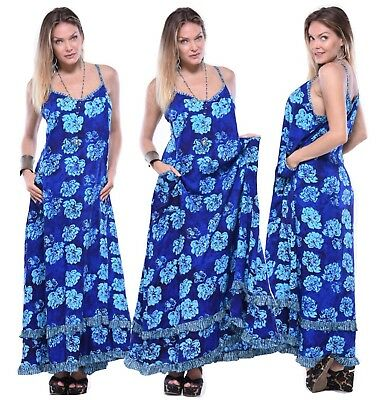 Women Fashion Dress - Batik Maxi Spaghetti Strap - Pockets LotusTraders Y812