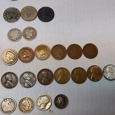 Vtg Lot Us Coin Barber Liberty Wheat Pennies Seated Dimes Nickels Foreign