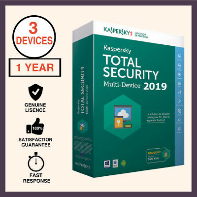 Kaspersky Total Security Antivirus 2019 3 PC Device 1 Year - Windows MAC Android