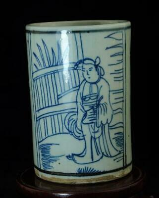 Old China Hand-Made Blue White Porcelain Hand Painted Character Brush Pot B02