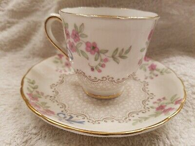 Tuscan Fine English Bone China Footed Tea Cup Saucer Pink Blossoms blue ribbon