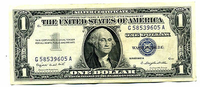 1957 A Silver Certificate Paper Money One Dollar Bill G58539605A Us $1 Note #900