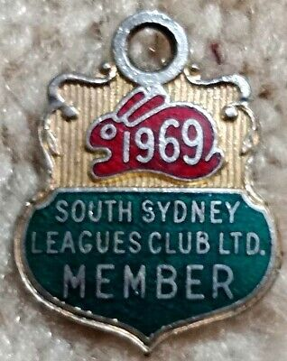 South Sydney Rugby League Badge dated 1969 Angus and Coote Member 100