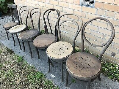 Antique Bent Wood Chairs, 5 (4 Matching ) Need Repair