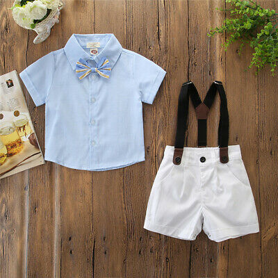 2PCS Newborn Boy Gentleman Outfit Clothes Shirt Tops+Bib Pants Jumpsuit Set 2019