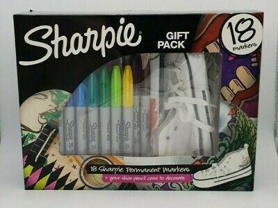 Brand New Sealed Sharpie Craft Activity Pack 18 Markers Plus Shoe Pencil Case