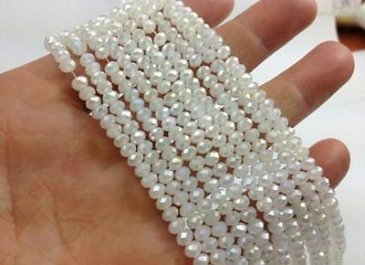 1000pcs 4x6mm white jade AB crystal faceted gems Rondelle spacer Loose Beads
