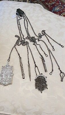 Victorian Chatelaine With 6 Pieces White Metal Steel Rare