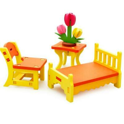 Wooden Dolls House Furniture Miniature Room For Kids Children Toy Gifts Hot C