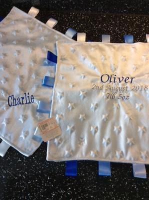 Romany Baby Personalised Embroidered Taggy Blanket Gift