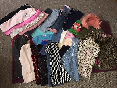 Huge 30 Items Girls Bundle Of Clothes 4-5years jackets,jeans,dresses ...