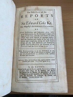 "1738 Antique Law ""reports Of Sir Edward Coke"" Vol V Large Heavy Leather Book"