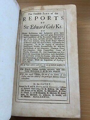 "1738 Antique Law ""reports Of Sir Edward Coke"" Vol Xii Large Heavy Leather Book"
